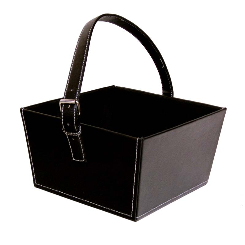 Roosevelt Faux Leather Basket with Buckle - Large 9in